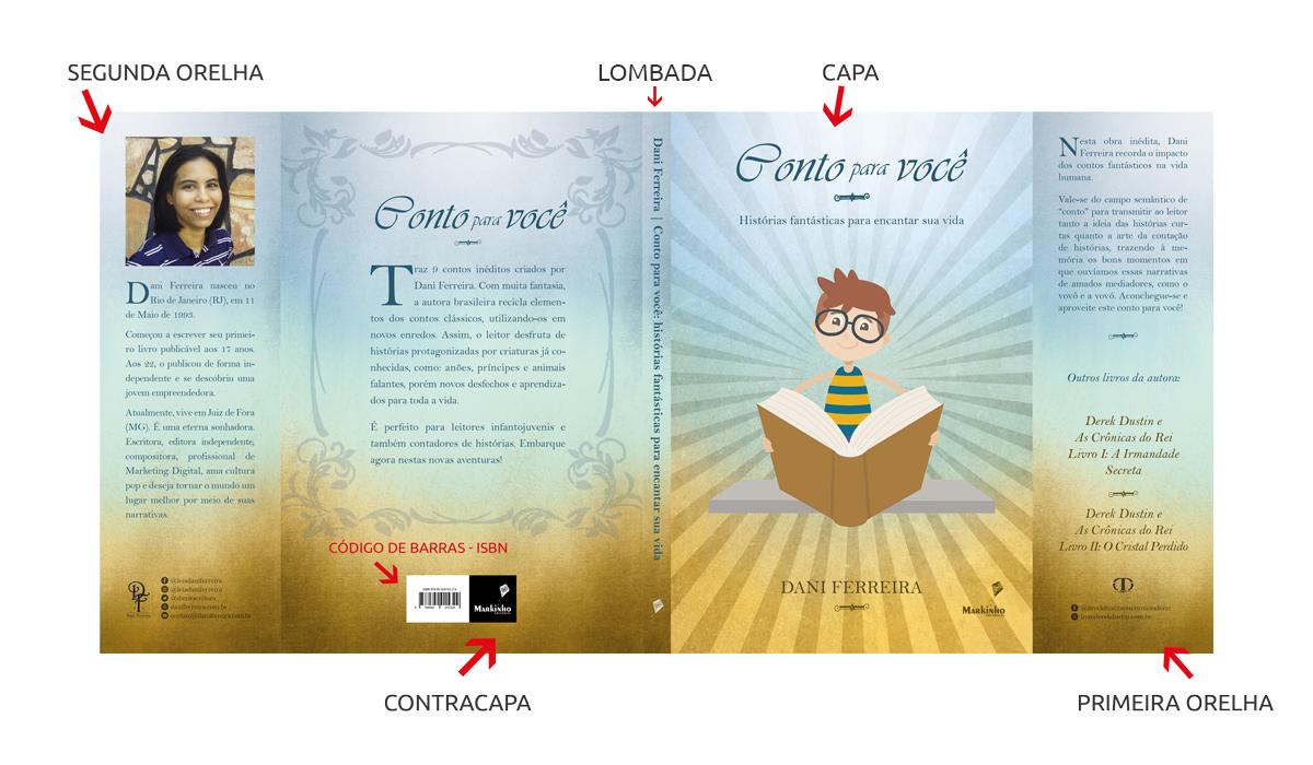 Exemplo partes do livro impresso - capa completa - publicação de livros