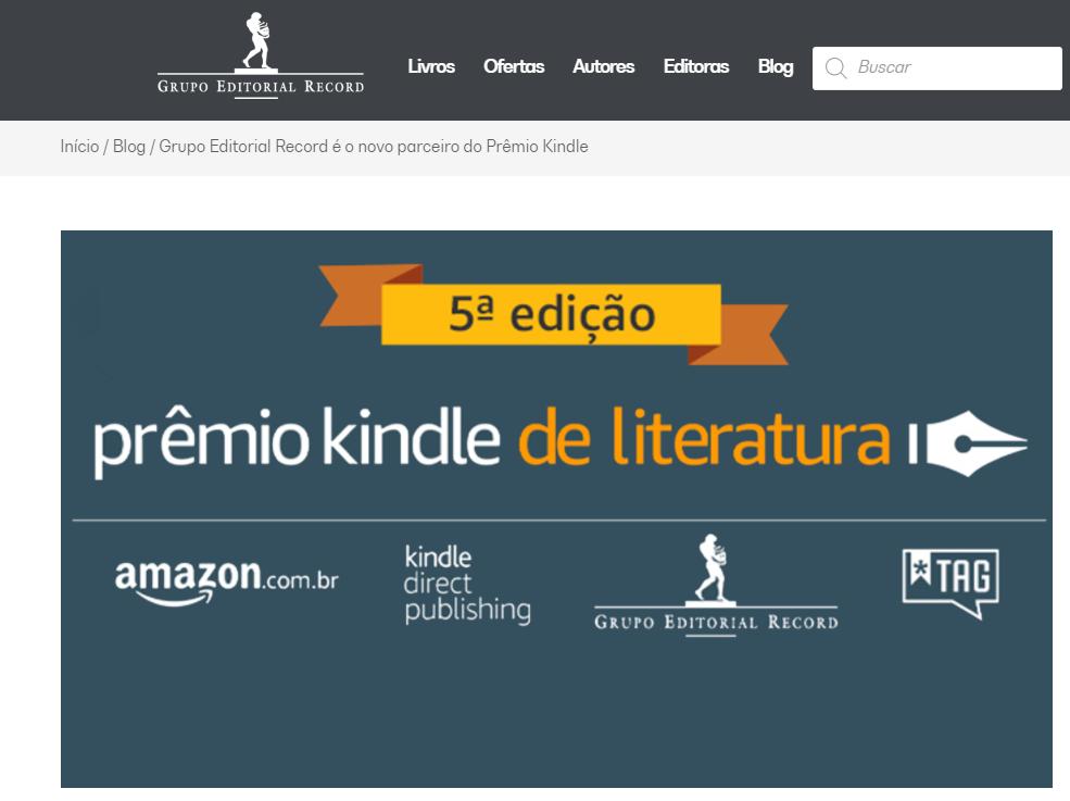 Grupo Editorial Record e Prêmio Kindle de Literatura — Blog Grupo Editorial Record